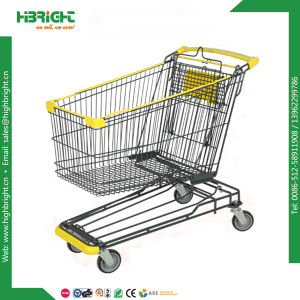 Powder Coated Supermarket Shopping Trolley with Curved Handle pictures & photos