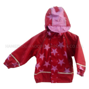 Red Star Hooded PU Rain Jacket/Raincoat pictures & photos