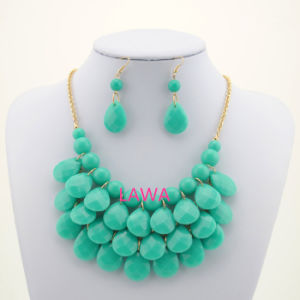 Lady Acrylic Beads Layers Handmade Big Chain Girl Necklace Set Sweet Colorful Necklace Aw242