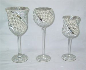 Set 3 Stemmed Mosaic Glass Votive Candle Holder Wedding pictures & photos