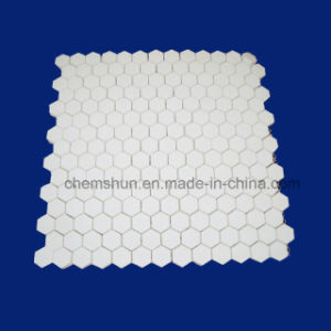 Hexagonal Ceramic Tile Mat Sticking on Nylon Net pictures & photos