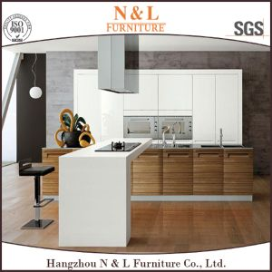 White Lacquer and Wood Veneer Modern Kitchen Cabinet Set pictures & photos
