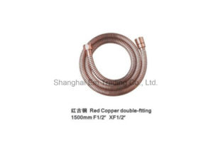 Red Copper Double-Clip Shower Hose, Bathroom Fitting pictures & photos