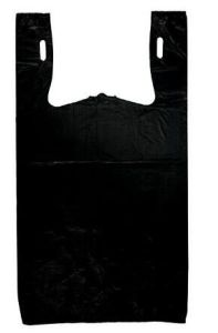 HDPE Black Color Plastic T-Shirt Bag with Gusset (7+12 X 22 inch X 0.018 mm) pictures & photos