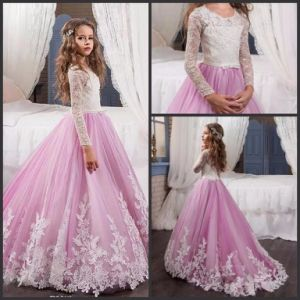 Lilac Tulle Girls Prom Gowns Lace Stage Performance Wedding Flower Girl Dresses B1278 pictures & photos