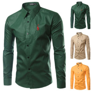 Custom Long Sleeve Army Green Embroidered Dress Shirt (A431)