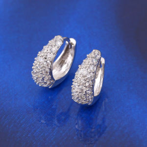 21718 Hot Selling Fashion Female Rhodium Silver Elegant Zircon Jewelry Earring pictures & photos