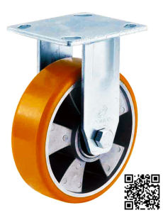 5 Inch Orange PU on Aluminum Caster Wheel (Fixed) pictures & photos