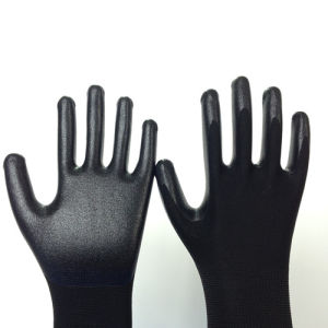 Nylon Gloves with Fake Foam Nitrile Coating pictures & photos
