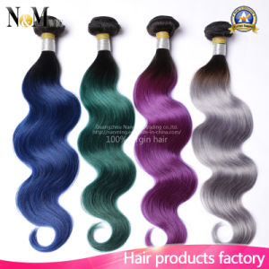 Burgundy/Purple/Red/Green/Gray Ombre Human Hair Weave 9A Two Tone Brazilian Dyed Hair Bundles pictures & photos