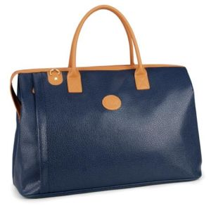 Blue PU Duffle Gym Luggage Travel Weekender Bag Large