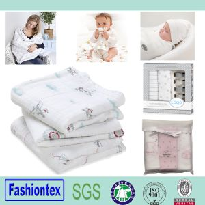 Infant Baby Bamboo Muslin Square Receiving Blanket pictures & photos