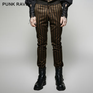 K-271punk Rave High Grade Suit Woven Elegant Pants with Rugged Stripes pictures & photos