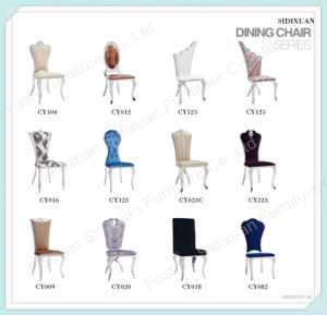 2016 Modern Velvet Chairs Clear Glass 6 People Dining Table pictures & photos