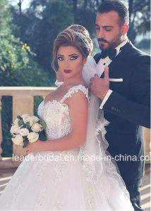 Sleeveless Wedding Gown Lace Tulle Arabic Bridal Wedding Dress W15212 pictures & photos