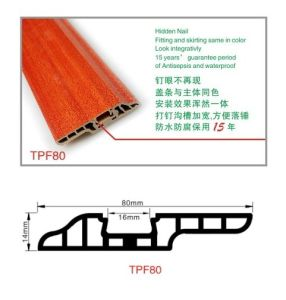 Nail-Hidden PVC Skirting Board with Wood Grain Decorative pictures & photos