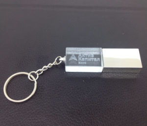 Customized 3D Logo Crystal USB Flash with Key Chain pictures & photos