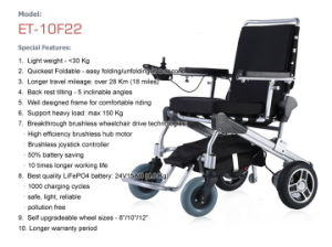 10′′ E-Throne Folding Lightweight Mobility Aid Power Brushless Electric Wheelchair, Mobility Scooter with Lithium Battery pictures & photos