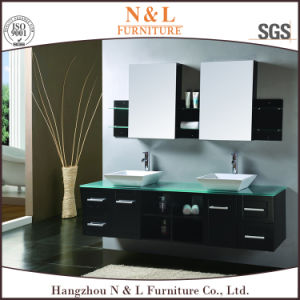 Solid Wood Oak Bathroom Vanity with Mirror Cabinet pictures & photos