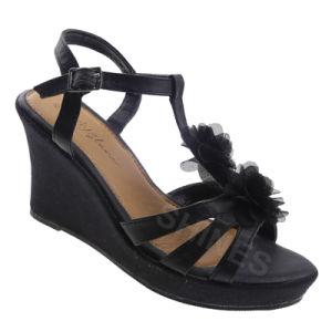 Black PU Upper with Mesh Flower High Heel Women Sandal