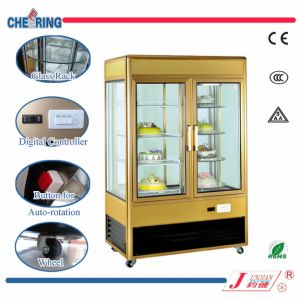 2 Door Glass Luxury Upright Rotation Cake Display Showcase with Ce Certificate pictures & photos
