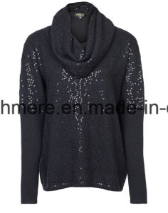 Lady Sequins Long Sleeve Top Grade Pure Cashmere Knitwear pictures & photos