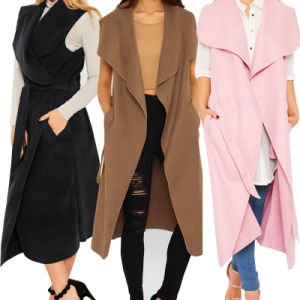 Women Celebirty Waterfall Cape Long Cardigan Sweater pictures & photos