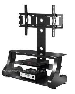 Black Glass+Wood Modern LCD TV Stand with Bracket (BR-TV521)