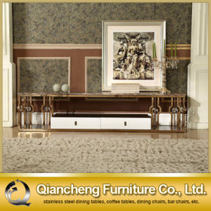 Rose Golden Color Furniture Corner TV Stand Modern pictures & photos