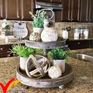 Kd Shabby Chic Antique White 2 Tired Wooden Tray Shelf for Home Decor, Cake Stand pictures & photos