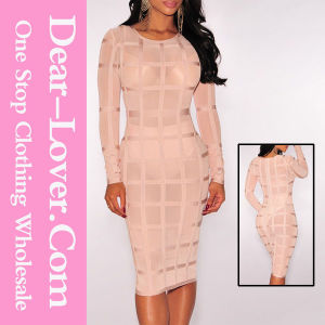 New Arrvial Lady Beige Studded Long Sleeve Bandage Dress pictures & photos