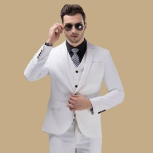 Men Fitted 3 Piece Prom White Suit pictures & photos
