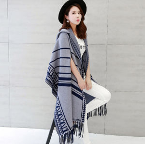 Women Fashion Viscose Nylon Knitted Winter Fringed Shawl (YKY4523) pictures & photos