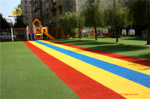 UV Resistance Waterproof Soft Anti-Slip Rainbow Colorful Flooring Artificial Grass pictures & photos