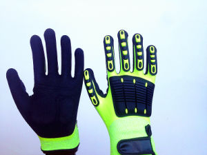 Fully Coated Sandy Nitrile Hppe Gloves with TPR Sewing