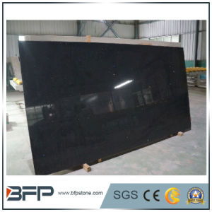 Chinese Original Pure Black Natural Quartz Stone Slabs for Wholesale pictures & photos