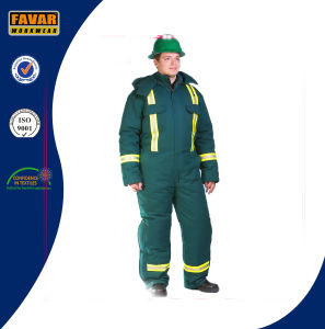 Russia Cold Weather Green Durable Winter Coverall High Visibility Winter Padded Coveralls pictures & photos
