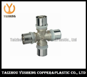 Female Forged Brass and Stainless Steel Press Cross Pipe Fitting (YS3213)