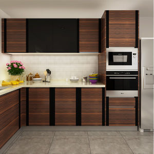 China oppein project wood grain pvc modular kitchen for Wooden modular kitchen designs