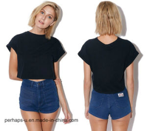 Good Quality Ladies Cotton Crop Tee with Custom Logo pictures & photos