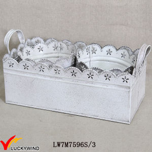 Metal Sheet Vintage White Round Flower Arrangements Pot with Rectangle Tray pictures & photos
