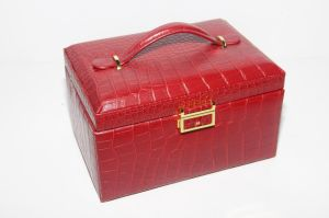 Red PU Leather Wooden Jewelry Box pictures & photos