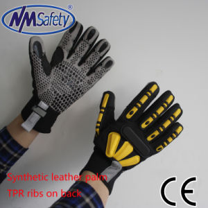 Nmsafety Mechanical Synthetic Leather Working Gloves with TPR pictures & photos