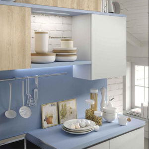 Home furniture Handle-Free Modern Wood Kitchen Cabinet for Apartment pictures & photos