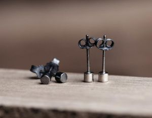 925 Sterling Silver Black Color Mini Stud Earrings Geomtric Design pictures & photos