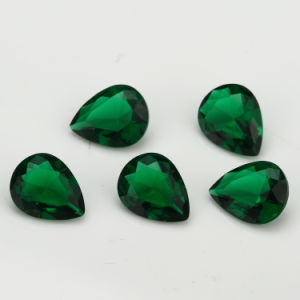 Synthetic Glass for Jewellery Cheap Green Emerald Pear Shape Glass pictures & photos