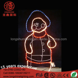 Waterproof LED 2D Snowman with Star Christmas Decoration Rope Motif Light for Garden pictures & photos