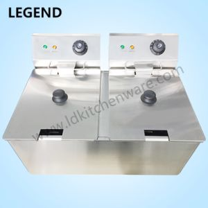 Stainless Steel Electric Frying Machine with Two 10L Tanks pictures & photos