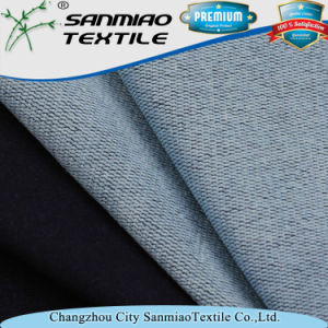 Indigo Polyester Cotton Terry Knitting Knitted Denim Fabric for Garments pictures & photos