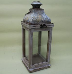 Medieval Style Wood and Iron Inlaid Glass Door Classical Lantern